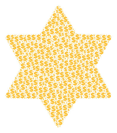 Six pointed star mosaic of dollars and round dots. Vector dollar pictograms are arranged into six pointed star shape.