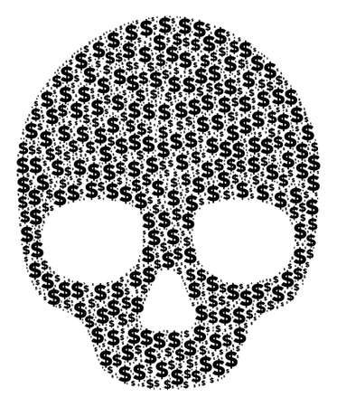 Skull composition of dollar symbols and sphere dots. Vector dollar icons are combined into skull mosaic. Illustration