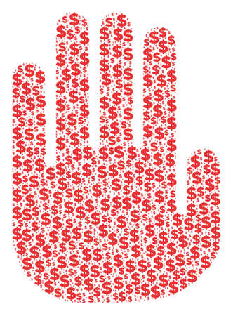 Stop hand composed of dollars and round spots vector illustration