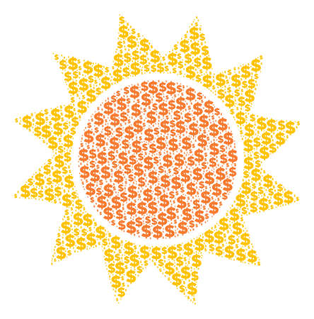 Sun collage of dollars and circle spots vector illustration