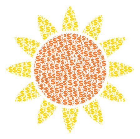 Sun made of dollar symbols and spheric points. Stock Illustratie