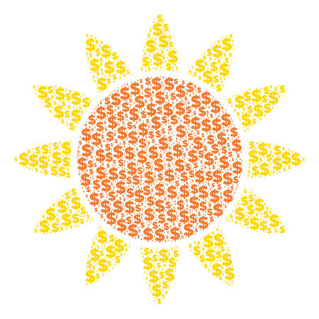 Sun made of dollar symbols and spheric points. Ilustração