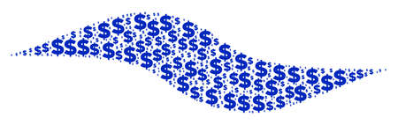 Wave shape mosaic of dollars and spheric dots. Vector dollar currency symbols are composed into wave shape shape.
