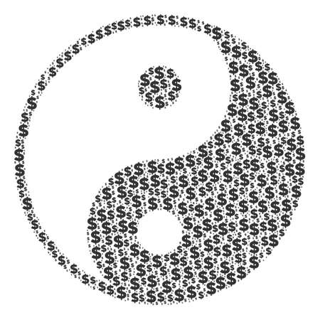 Yin yang mosaic of dollar symbols and round spots. Vector banking pictograms are arranged into yin yang illustration.