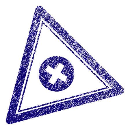 Cancel triangle stamp seal. Vector element with grainy design and corroded texture in blue color. Designed for overlay watermarks and grunge textured rubber seal imitations.