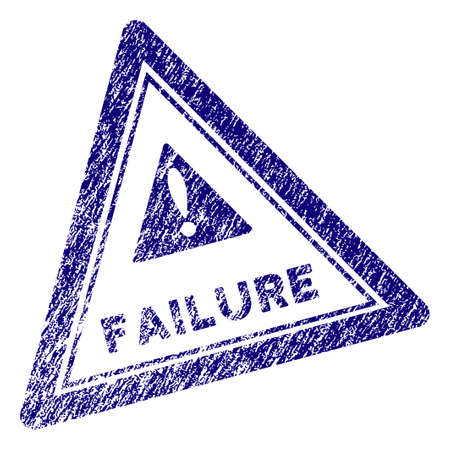 Failure triangle stamp seal. Vector element with grainy design and corroded texture in blue color. Designed for overlay watermarks and grunge textured rubber seal imitations.