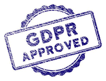 GDPR承認印鑑。青い色の粒状のデザインと腐食したテクスチャを持つベクトル要素。オーバーレイ透かしとグランジテクスチャラバーシールの模倣のために設計されています。 写真素材 - 101169067
