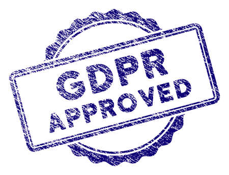 GDPR Approved stamp seal. Vector element with grainy design and corroded texture in blue color. Designed for overlay watermarks and grunge textured rubber seal imitations.