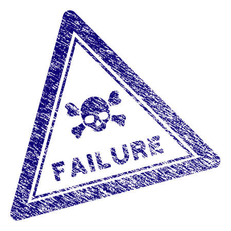 Failure triangle stamp seal. Vector element with grainy design and retro texture in blue color. Designed for overlay watermarks and grunge textured rubber seal imitations.