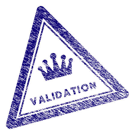 Validation triangle stamp seal. Vector element with grainy design and dirty texture in blue color. Designed for overlay watermarks and grunge textured rubber seal imitations.
