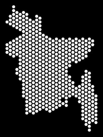 Hex-tile Bangladesh map. Vector geographic scheme on a black background. Abstract Bangladesh map mosaic is composed with hex tile cells. Illustration