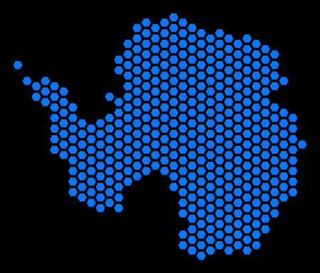 Hex tile Antarctica map. Vector territory scheme on a black background. Abstract Antarctica map composition is composed with hex tile blots.