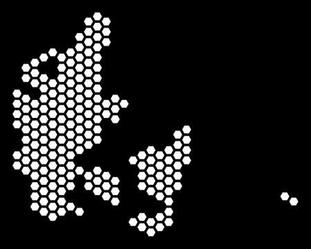 Hexagonal Denmark map. Vector territory plan on a black background. Abstract Denmark map mosaic is created of hexagonal spots.