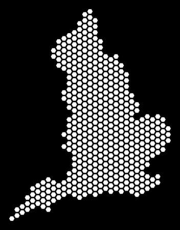 Hexagonal England map. Vector territorial plan on a black background. Abstract England map collage is created with hexagonal elements.