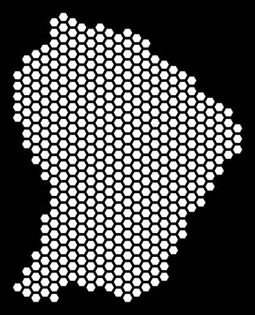 Honeycomb French Guiana map. Vector geographic plan on a black background. Abstract French Guiana map mosaic is created with hexagon blots. Illustration