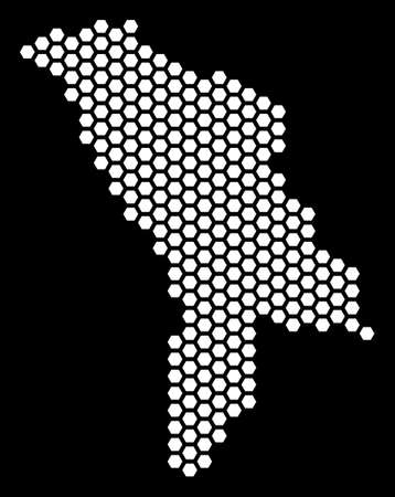 Hex-tile Moldova map. Vector territory scheme on a black background. Abstract Moldova map collage is combined with honeycomb blots. Vectores