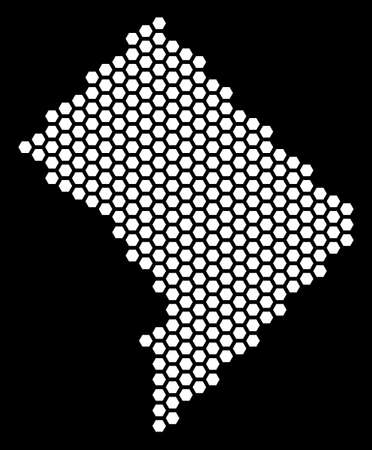 Hexagon Washington DC map. Vector territorial scheme on a black background. Abstract Washington DC map mosaic is designed of hexagonal cells.
