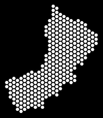 Hexagonal Yemen map. Vector geographic scheme on a black background. Abstract Yemen map concept is composed of hexagon spots. Illustration