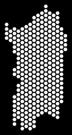 Hex-tile Italian Sardinia Island map. Vector geographic scheme on a black background. Abstract Italian Sardinia Island map collage is formed with honeycomb elements.