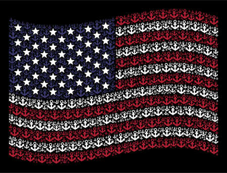 Anchor symbols are arranged into waving American flag stylization on a dark background. Vector concept of America state flag is formed of anchor items. Designed for political and patriotic doctrines.