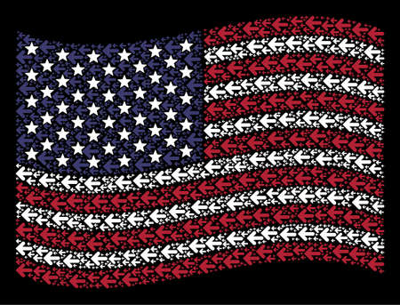 Arrow left symbols are grouped into waving American flag stylization on a dark background. Vector composition of USA state flag is composed with arrow left items.