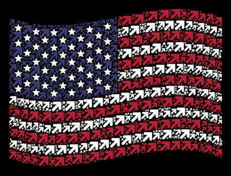 Arrow up right icons are organized into waving United States flag mosaic on a dark background. Vector collage of American state flag is constructed from arrow up right elements. Illustration
