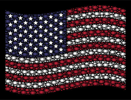 Bacteria symbols are grouped into waving United States flag abstraction on a dark background. Vector concept of USA state flag is organized of bacteria items.