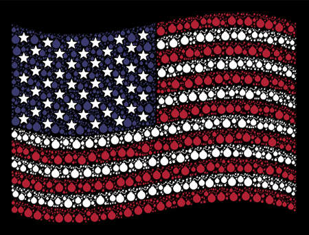 Bomb icons are arranged into waving American flag stylization on a dark background. Vector collage of America state flag is created of bomb elements. Designed for political and patriotic projects. Illustration