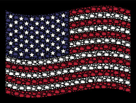 Boom explosion items are arranged into waving USA flag mosaic on a dark background. Vector concept of USA state flag is constructed from boom explosion items. Illustration