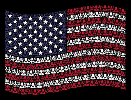 Businessman pictograms are grouped into waving United States flag stylization on a dark background. Vector collage of USA state flag is constructed with businessman items.