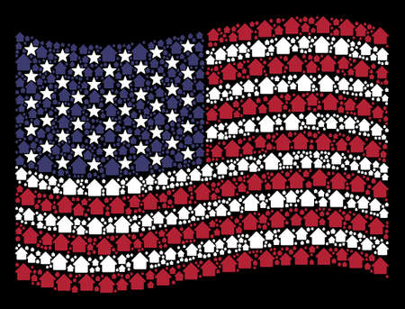 Cabin pictograms are grouped into waving United States flag abstraction on a dark background. Vector composition of American state flag is designed from cabin items. Illustration