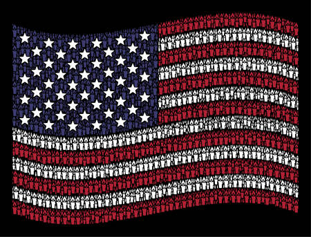 Candle pictograms are combined into waving American flag abstraction on a dark background. Vector collage of USA state flag is designed of candle elements. 일러스트