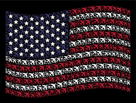 Jet plane pictograms are combined into waving American flag stylization on a dark background. Vector composition of USA state flag is designed from jet plane items.