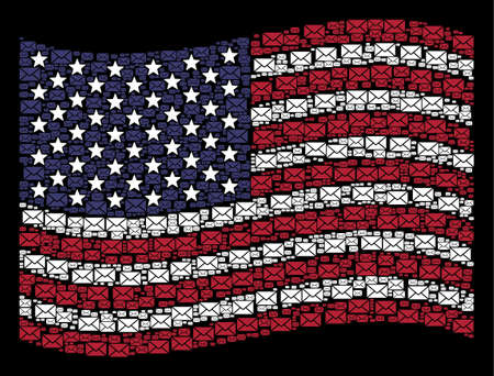 Mail envelope pictograms are arranged into waving USA flag mosaic on a dark background. Vector collage of America state flag is designed with mail envelope items.
