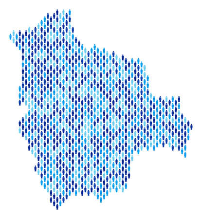 Population Bolivia map. Demography vector abstraction of Bolivia map combined of crowd items. Abstract social scheme of nation audience cartography. Demographic map in blue color hues.