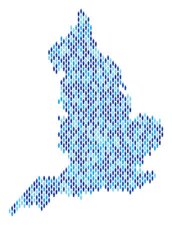 Population England map. Demography vector composition of England map composed of man items. Abstract social plan of national community cartography. Demographic map in blue color variations.