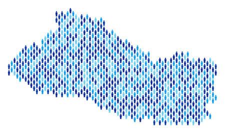 Population El Salvador map. Demography vector mosaic of El Salvador map combined of crowd elements. Abstract social plan of nation public cartography. Demographic map in blue color tones.