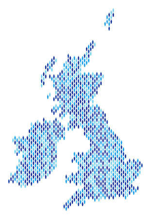 Population Great Britain and Ireland map. Demography vector mosaic of Great Britain and Ireland map made of crowd items. Abstract social representation of national group cartography.