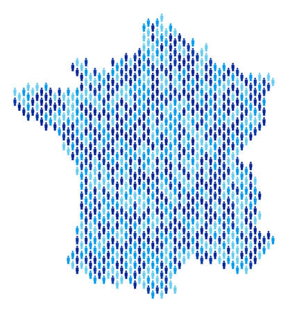 Population France map. Demography vector pattern of France map organized of men items. Abstract social representation of nation community cartography. Demographic map in blue color shades.