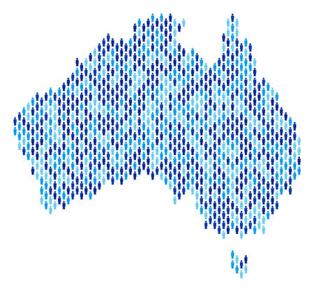 Population Australia map. Demography vector collage of Australia map made of people items. Abstract social representation of national group cartography. Demographic map in blue color tinges.