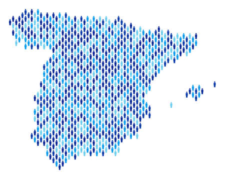 Population Spain map. Demography vector composition of Spain map composed of human items. Abstract social plan of national public cartography. Demographic map in blue color tints.