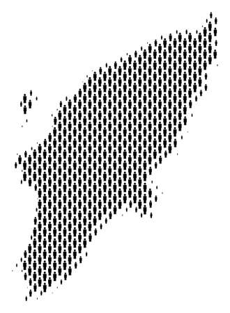 Demography Greek Rhodes Island map people. Population vector cartography mosaic of Greek Rhodes Island map designed of man items. Social scheme of nation audience. Demographic abstract halftone map. Illustration
