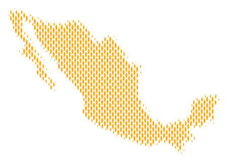 Demography Mexico map people. Population vector cartography pattern of Mexico map combined of crowd items. Social scheme of nation mass. Demographic abstract halftone map.