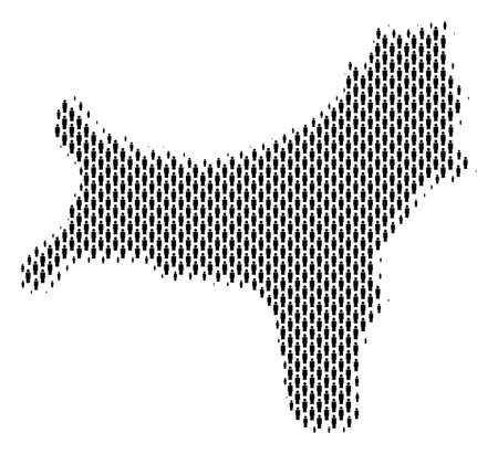 Demography Christmas Island map people. Population vector cartography concept of Christmas Island map done of person elements. Social plan of national group. Demographic abstract halftone map.