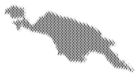 Démographie Carte des gens de l'île de Nouvelle-Guinée. Composition de cartographie de vecteur de population de la carte de l'île de Nouvelle-Guinée composée d'éléments de personne. Plan social de la nation publique.