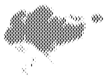 Demography Singapore map people. Population vector cartography mosaic of Singapore map made of crowd elements. Social representation of nation mass. Demographic abstract halftone map.