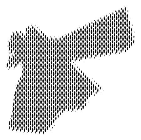 Demography Jordan map people. Population vector cartography abstraction of Jordan map done of person items. Social representation of national group. Demographic abstract halftone map. Illustration