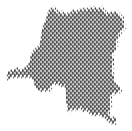 Demography Democratic Republic of the Congo map people. Population vector cartography composition of Democratic Republic of the Congo map made of man items. Social representation of national mass. Vectores