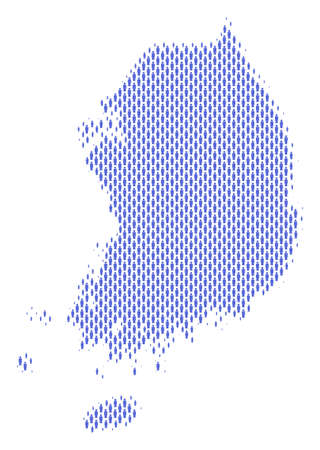 Demography South Korea map people. Population vector cartography pattern of South Korea map done of human items. Social plan of national community. Demographic abstract halftone map.