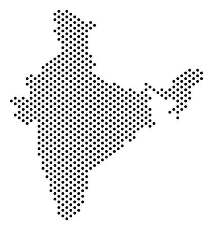 Dotted India map. Vector territory plan. Cartographic pattern..